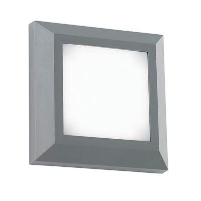 Severus Square Direct 3W Warm White Wall Light Grey Abs Plastic