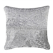 Crushed Velvet Diamond Stripe Cushion - Grey