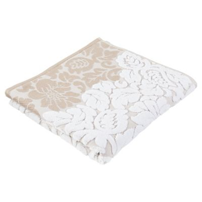 Tesco Grey White Jacquard  Bath  Towel