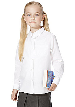 F&F School 5 Pack of Girls Easy Care Long Sleeve Shirts - White
