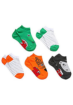 F&F 5 Pack of Novelty Animal and Striped Trainer Socks - Multi