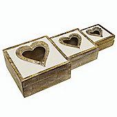 Heart - Box Trio Set - White / Brown