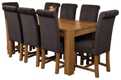 Kuba Chunky 180cm Kitchen Solid Oak Dining Set Table & 8 Black Fabric Chairs