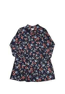 F&F Floral Print Shirt Dress - Navy