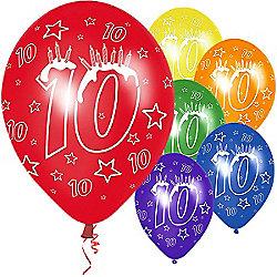 Latex Balloons Happy 10th Birthday 6pk