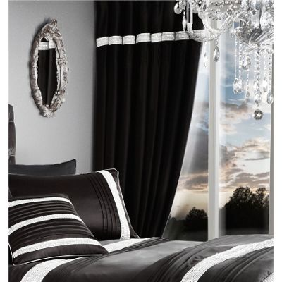 Catherine Lansfield Glamourous Diamante Bands Black 66x72 Inch Eyelet Curtains