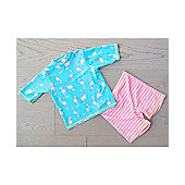 Big Fisch Girls UV Rash Top & Shorts | Flamingo - Pink & Blue