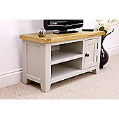 Arklow Painted Grey Small Oak TV Unit / Oak TV Stand