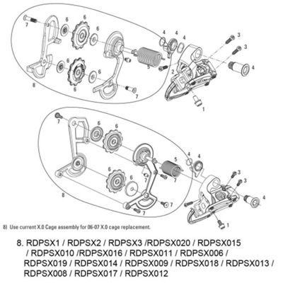 SRAM Cage Kit for Rear Derailleur X0 9spd (Cage & Pulleys) Carbon/Aluminium Medium