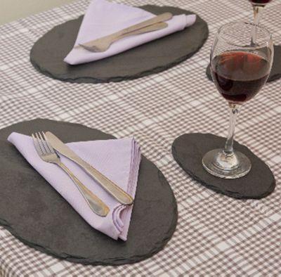 Platters Slate Oval Placemats Slate Set of 2