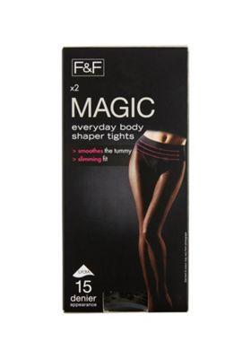 F&F 2 Pack of Magic Shapewear 15 Denier Shaper Tights with Lycra® L Black