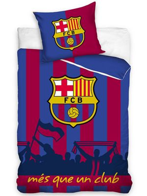 FC Barcelona Silhouette Cotton Single Duvet Cover Set