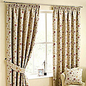 """Homescapes Cream Ready Made Jacquard Curtain Pair Chintz Flowers 90x90"""""""