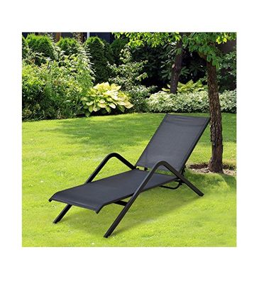 Outsunny Chaise Lounge Chair Folding Pool Recliner Yard 4 Level Height Adjustable (Black)