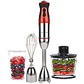 Andrew James Hand Blender and Processor, 3 in 1, 700 Watt - Red