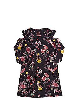 F&F Sparkle Floral Cold Shoulder Jersey Dress - Black
