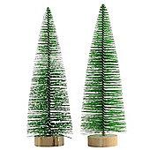 2 x 18cm Green Plastic Bottle Brush Bristle Christmas Tree Ornaments