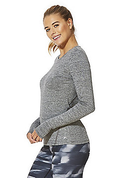 F&F Active Soft Touch Long Sleeve Sports Top - Marl grey