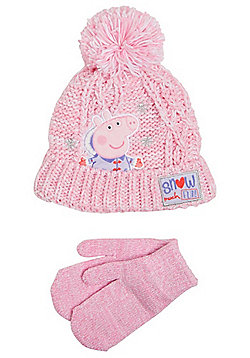Peppa Pig Bobble Hat and Sparkle Mittens Set - Pink