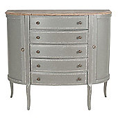 French Grey Rubber Wood Half Oval Console Table