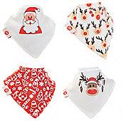 Zippy Boxed Gift Set of 4 Fun Bandana Dribble Bibs - Christmas Red and White