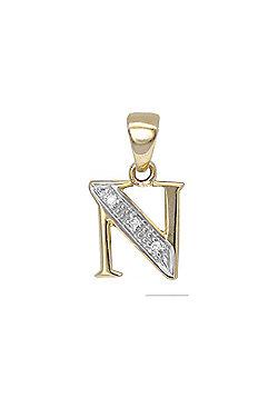 Jewelco London 9 Carat Yellow Gold Elegant 1.5pts Diamond-Set Initial Pendant - Initial N