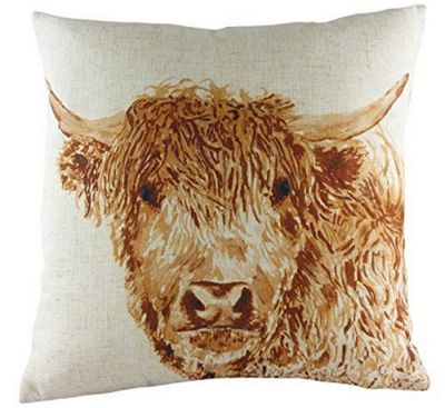 Evans Lichfield Angus Highland Cow Filled Cushion with Country Check 43cm