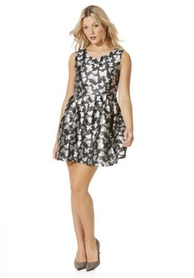 Mela London Butterfly Jacquard Skater Dress 12 Black glitter