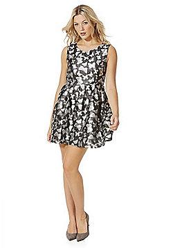 Mela London Butterfly Jacquard Skater Dress - Black glitter