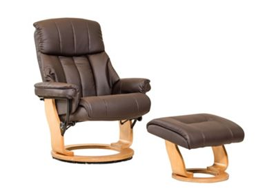 Sofa Collection Canneto Swivel Chair With Massage And Heat Function And Footstool - Brown