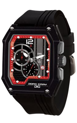 Jorg Gray Mens JG7100-23 Chronograph Watch Patterened Dial Silicone Strap
