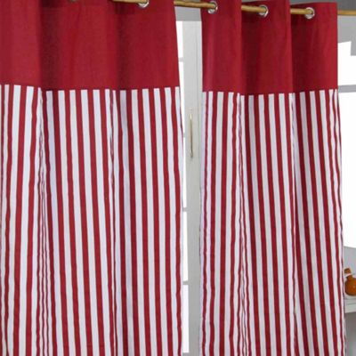 Homescapes Thick Red Stripe Ready Made Eyelet Curtain Pair, 137 x 182 cm Drop