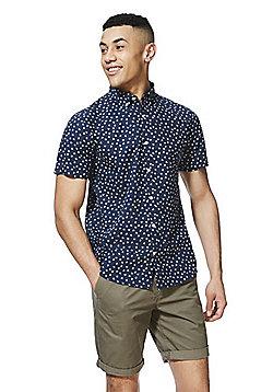 F&F Ditsy Floral Print Short Sleeve Shirt - Navy