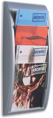 Fast Paper Quick Fit Literature Holder Wall-mount 4 x A4 Pockets W290xD95xH650mm Aluminium Ref 4061.35