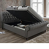 Happy Beds Castello Fabric Side Ottoman Storage Bed with Bonnell Spring Mattress - Grey