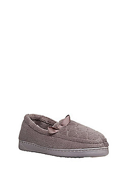 F&F Quilted Closed Back Slippers - Mocha