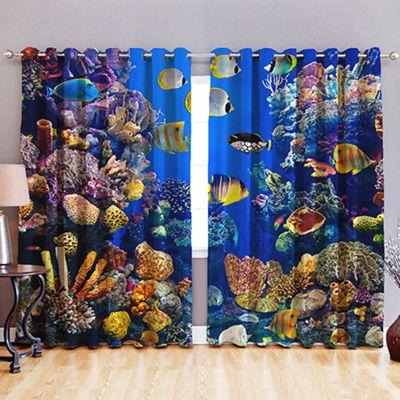 Aquarium 3D Print Blackout Fabric Eyelet Curtains 52