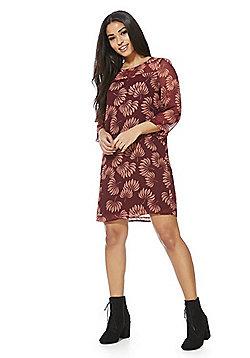 Vero Moda Leaf Print Chiffon Shift Dress - Burgundy