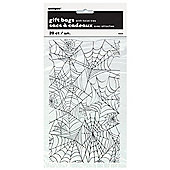 Halloween Clear Spiderweb Cellophane bags - Pack 20