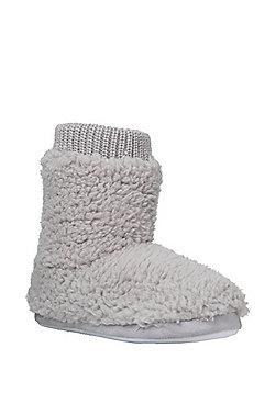 F&F Cloud Fleece Bootie Slippers - Grey