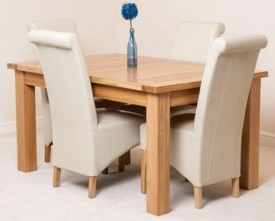 Seattle Solid Oak Extending 150 - 210 cm Dining Table with 4 Ivory Montana Leather Chairs