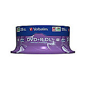 Verbatim 8.5GB DVD+R 8x Spindle Double Layer Matt Silver (25 Pack)