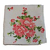 Homescapes Floral Printed Cream Face Cloth 100% Cotton