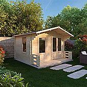 2.50m x 2.72m (8ft x 9ft) Sutton Value Apex Log Cabin Including Verandah (2 7 0.8m) - 19mm T&G Garden Cabin - Fast Delivery - Pick A Day