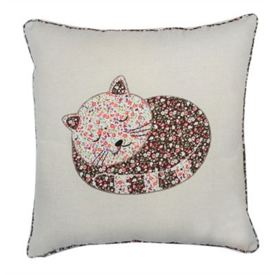 Sleeping Cat Cushion - Cream & Pink