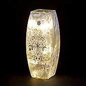 Glass Glitter Vase with Tree and Warm White LEDs 25cm