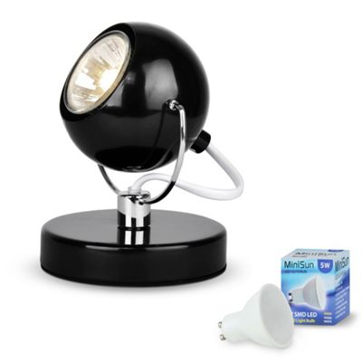 Adjustable Retro Eyeball LED Table Lamp, Gloss Black & Chrome & Daylight GU10 Bulb