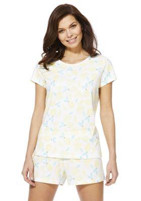 F&F Lemon Short Pyjamas Lemon Yellow 20-22