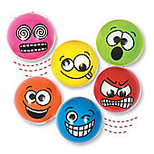 High Bounce Funny Face Jet Balls for Kid's Party Bags, Toys & Prizes (Pack of 6)