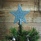 17cm Ice Blue Glitter Star Christmas Tree Topper Decoration